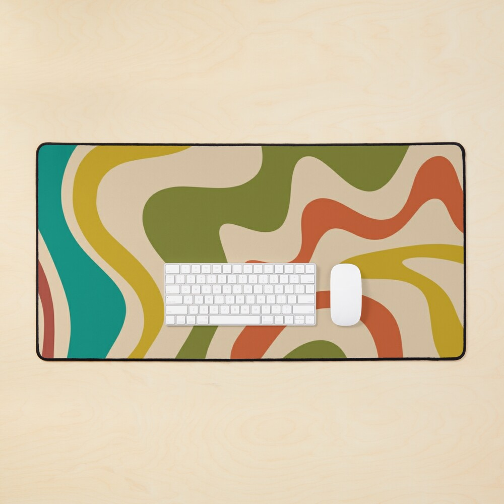 Liquid Swirl Retro Abstract Pattern in Mid Mod Colours Mouse Pad