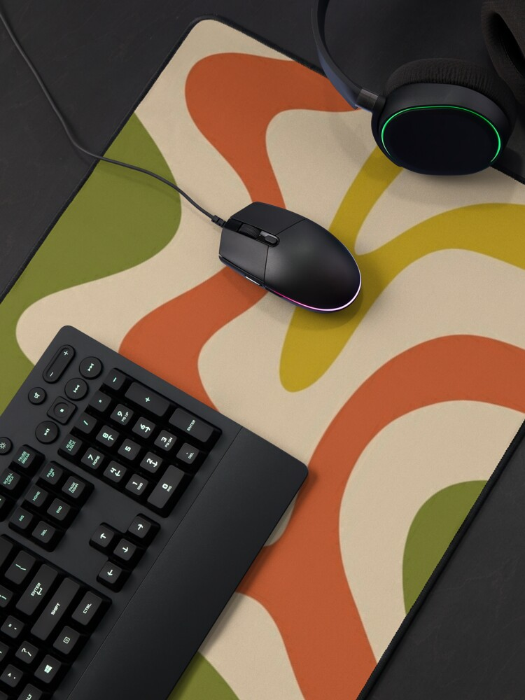 Alternate view of Liquid Swirl Retro Abstract Pattern in Mid Mod Colours Mouse Pad