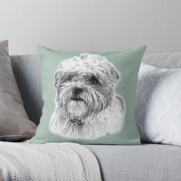 Ollie the Maltese Shih Tzu WHITE BACKGROUND Throw Pillow