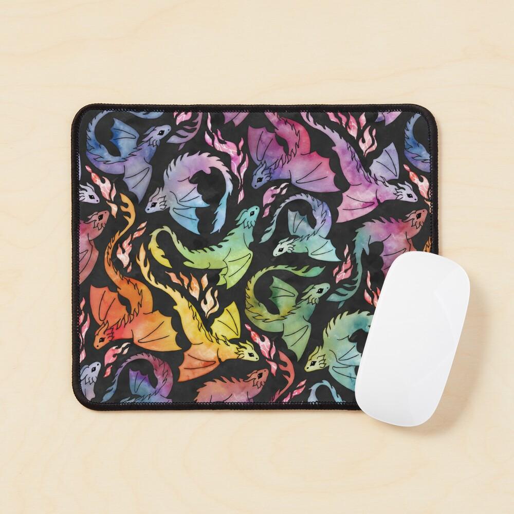 Dragon fire dark rainbow Mouse Pad