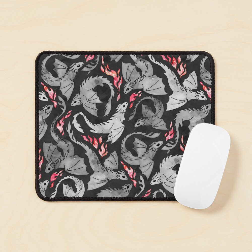 Dragon fire dark grey and black Mouse Pad