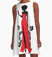 Silhouette of woman with wineglass A-Line Dress