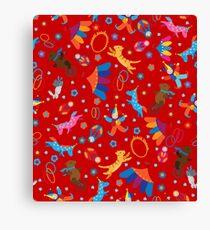 Funny circus cartoon animals pattern Canvas Print