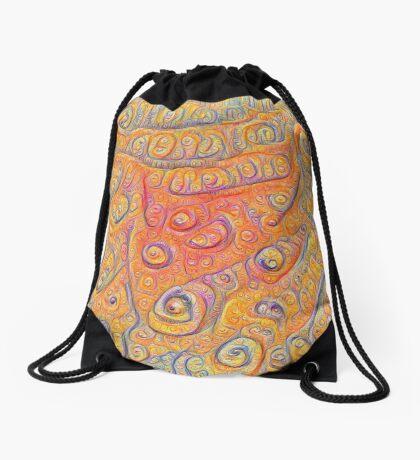 Orange #DeepDream Drawstring Bag