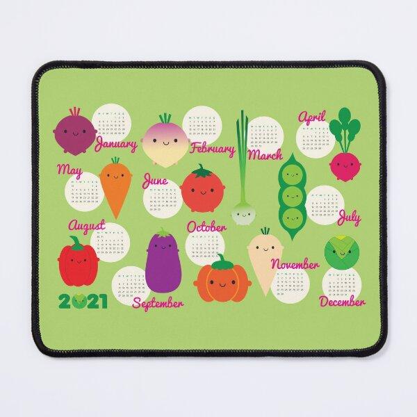 5 A Day Kawaii Vegetables 2021 Calendar Mouse Pad