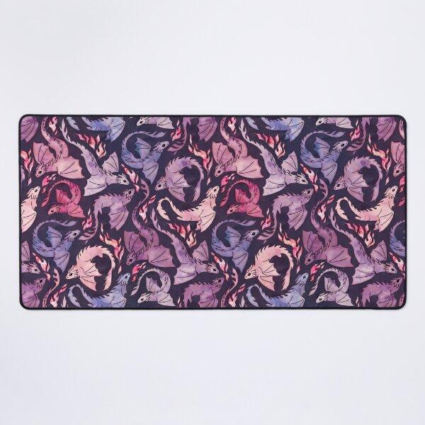 Dragon fire dark pink & purple Desk Mat