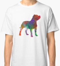 Staffordshire Bull Terrier in watercolor Classic T-Shirt