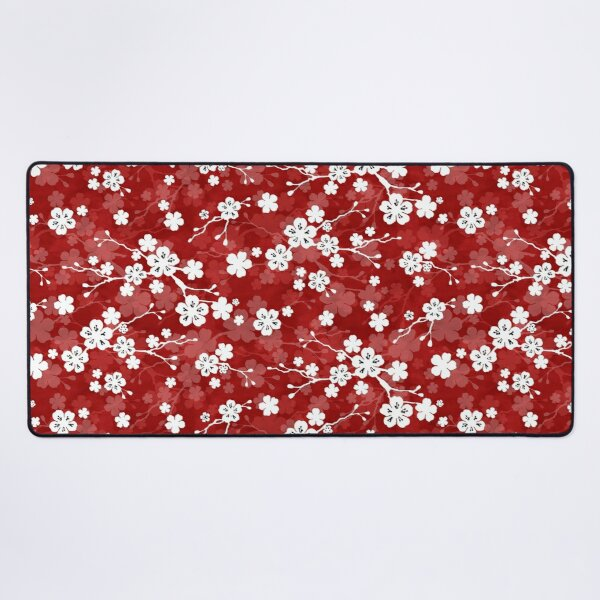 Red and white cherry blossom pattern Desk Mat