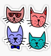 Cartoon Cat Faces Sticker