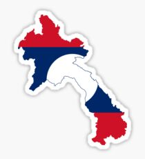 Laos Flag Map Sticker