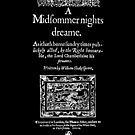 Shakespeare A Midsummer Night's Dream Frontpiece - Simple White Version by Incognita Enterprises