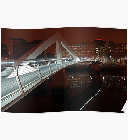Squiggly Bridge at Night (River Clyde)  Poster