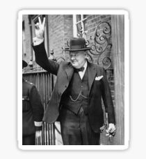 Winston, Churchill, British prime minister, V sign, Victory, 1943, WWII Sticker