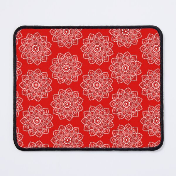 Ornamental pattern with red color- white  Mouse Pad