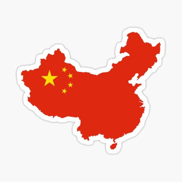China Flag Map Sticker