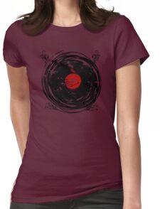 Enchanting Vinyl Records Vintage Twirls Womens Fitted T-Shirt