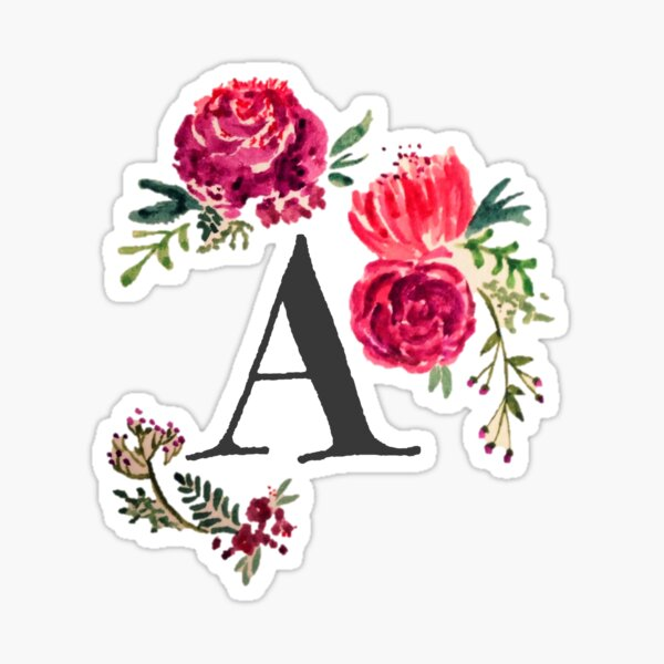 Floral Monogram Watercolor  Sticker