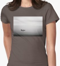 Black and white minimalistic milky sea Womens Fitted T-Shirt