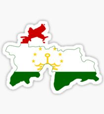 Tajikistan Flag Map Sticker