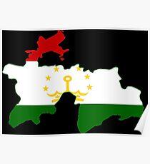 Tajikistan Flag Map Poster