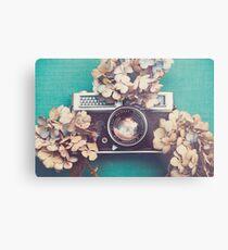 Camera & Hydrangea Metal Print