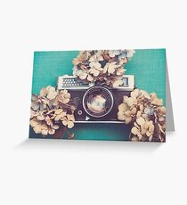 Camera & Hydrangea Greeting Card