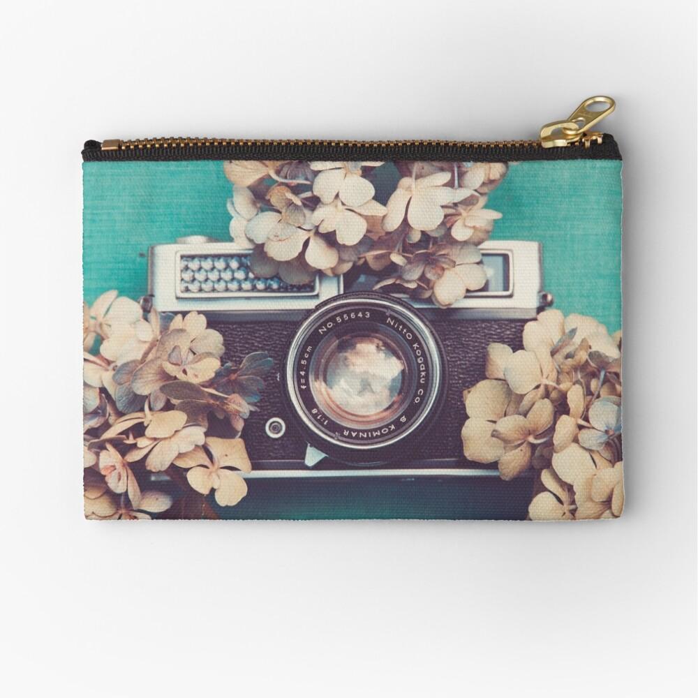 Camera & Hydrangea Zipper Pouch