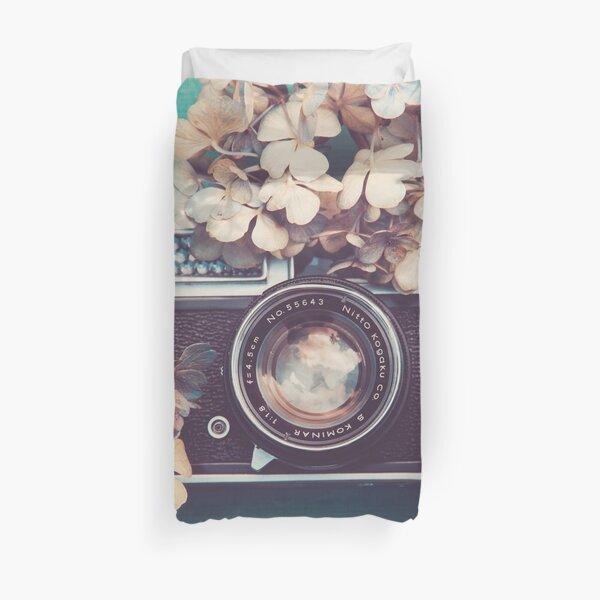 Camera & Hydrangea Duvet Cover