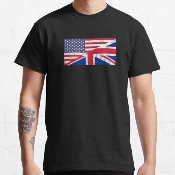 USA and UK Flag Mixed United Allies Friends Classic T-Shirt