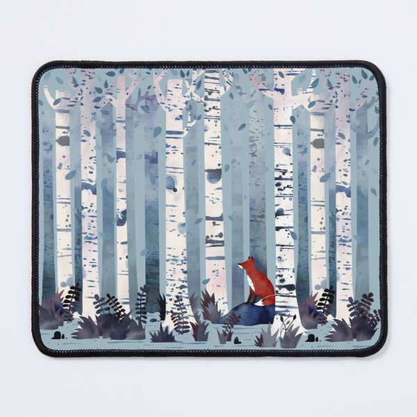 The Birches (in Blue) Mouse Pad