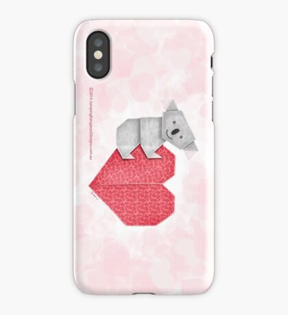 Cuddly Koala and Heart Origami iPhone Case