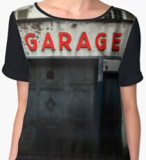 Old abandoned garage with red sign in historical center of Strasbourg Chiffon Top