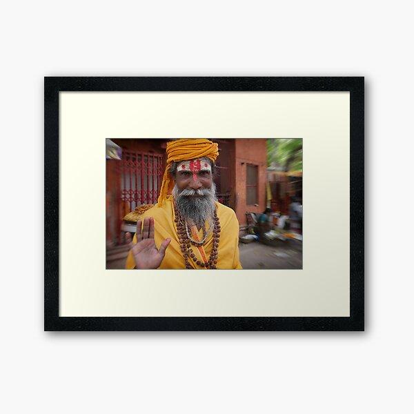 sadhu in the street | varanasi Framed Art Print