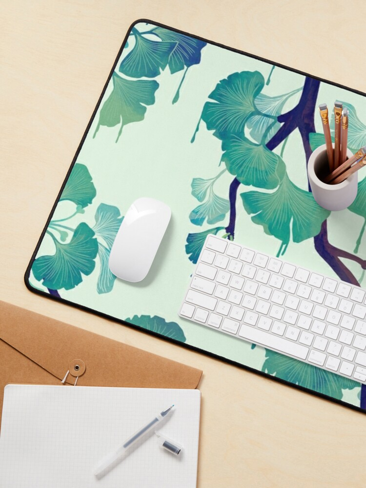 Alternate view of O Ginkgo (in Green) Mouse Pad