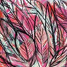 Disco Leaves Charcoal and Pastel Drawing by melaniebiehle