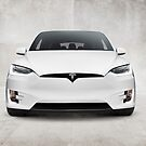 White 2017 Tesla Model X electric car front view art photo print by ArtNudePhotos