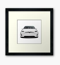 White 2017 Tesla Model X luxury SUV electric car front isolated art photo print Framed Print