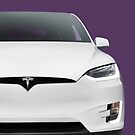 White 2017 Tesla Model X luxury SUV electric car front art photo print by ArtNudePhotos