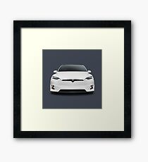White 2017 Tesla Model X luxury SUV electric car front art photo print Framed Print