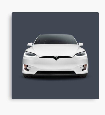 White 2017 Tesla Model X luxury SUV electric car front art photo print Canvas Print