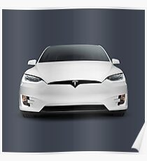 White 2017 Tesla Model X luxury SUV electric car front art photo print Poster