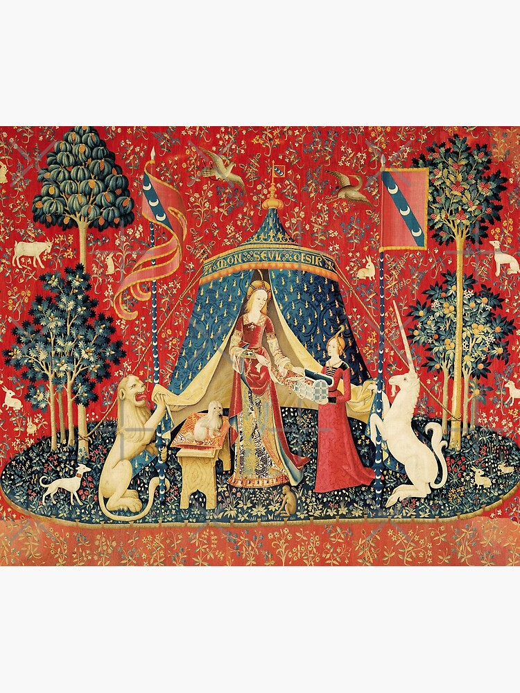 LADY AND UNICORN DESIRE ,Lion,Fantasy Flowers,Animals,Red Green Floral by BulganLumini