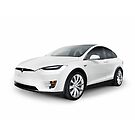 White 2017 Tesla Model X luxury SUV electric car isolated art photo print by ArtNudePhotos