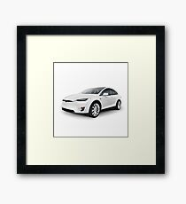 White 2017 Tesla Model X luxury SUV electric car isolated art photo print Framed Print
