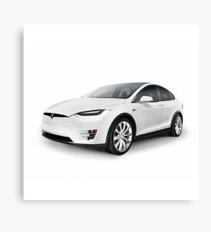 White 2017 Tesla Model X luxury SUV electric car isolated art photo print Canvas Print