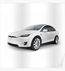 White 2017 Tesla Model X luxury SUV electric car isolated art photo print Poster
