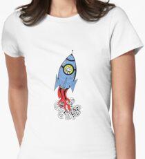 Happy Waving Robot in Rocket T-Shirt