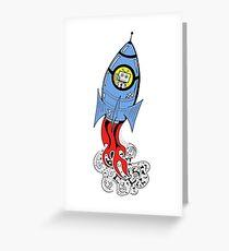 Happy Waving Robot in Rocket Greeting Card