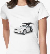 White 2017 Tesla Model X luxury SUV electric car with open falcon-wing doors art photo print T-Shirt