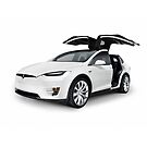 White 2017 Tesla Model X luxury SUV electric car with open falcon-wing doors art photo print by ArtNudePhotos